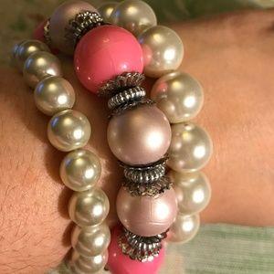 Jewelry - Bundle of 3 Faux Pearl Pink & Cream Bracelets!